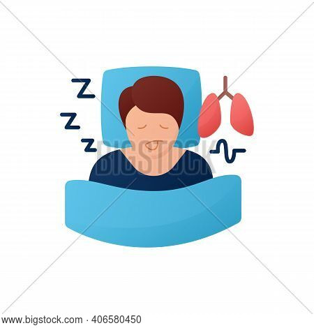 Sleep Study Flat Icon. Unusual Breathing Patterns. Sleep Disorder. Healthy Sleeping Concept.sleep Pr