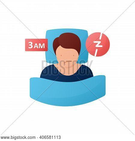 Difficulty Falling Asleep Flat Icon. Insomnia. Sleep Disorder. Healthy Sleeping Concept. Sleep Probl