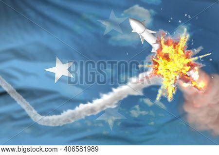 Micronesia Intercepted Nuclear Warhead, Modern Antirocket Destroys Enemy Missile Concept, Military I