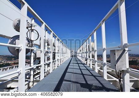 Construction For 5G Broadband Cellular Network Transmitters, Telecommunication Tower, Wireless Commu