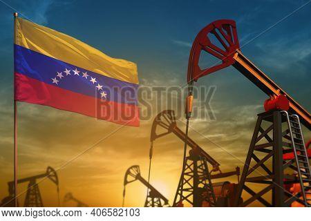 Venezuela Oil Industry Concept, Industrial Illustration. Fluttering Venezuela Flag And Oil Wells On