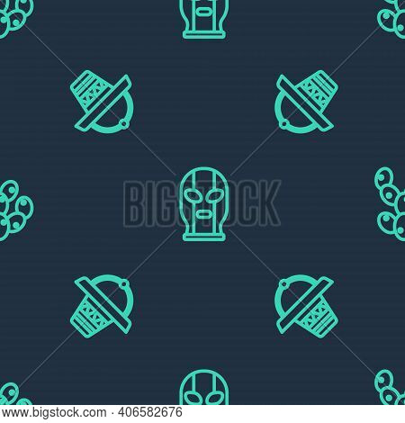 Set Line Mexican Wrestler, Sombrero And Cactus On Seamless Pattern. Vector