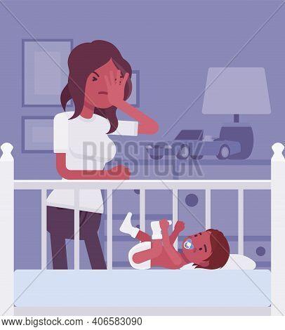 Postpartum Depression, Black Mum Feeling Sad, Fatigued, Baby Blues Symptoms. Young Tired Mother Havi