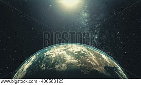 Rotating Earth planet with Sun light. White halo orbits about bright star in space with stars. Outer cosmos, Solar System at starry dark blue sky. Worldwide spacecraft concept in 3d animation