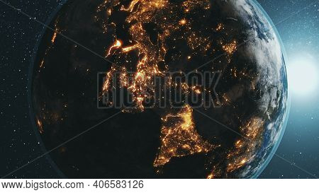 Earth planet orbit with bright sun in dark outer space. Realistic planet of Solar system at star sky background. Illuminated mainlands cities, countries network of world globe. illustration