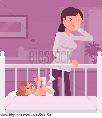 Postpartum Depression, Mum Feeling Sad, Fatigued, Baby Blues Symptoms. Young Tired Mother Having Moo