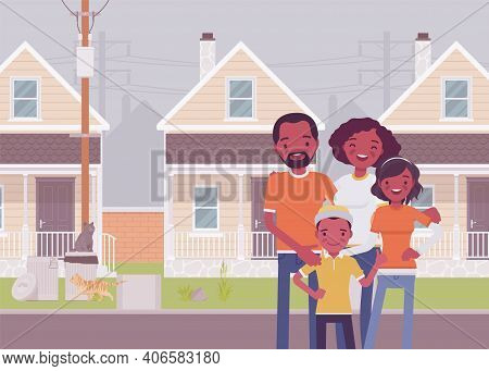 Happy Black Family Standing In Front Of Own House. Homeowner Dream, Property, Apartment Building For