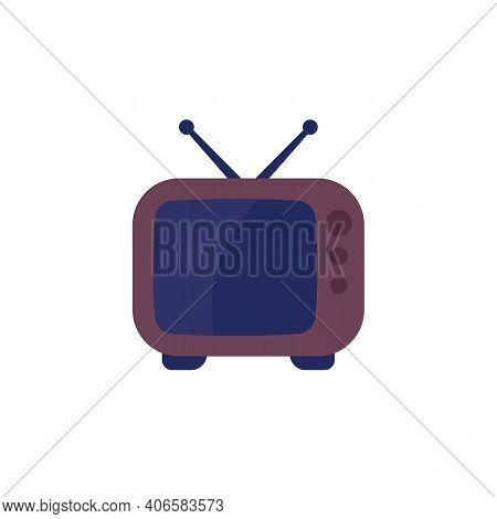 Tv With Antenna, Old Television Set Icon On White