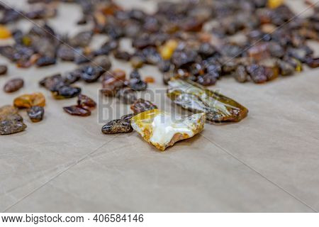 Raw Amber Before Jewelry Making