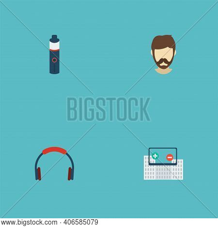 Set Of Trend Icons Flat Style Symbols With Augmented Reality, Vape, Bluetooth Headphone And Other Ic