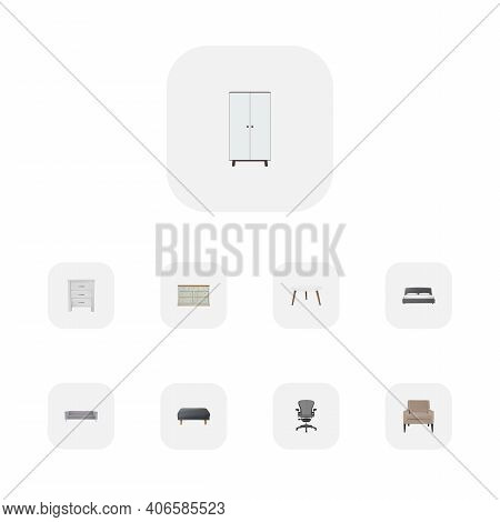 Set Of Decoration Realistic Symbols With Cupboard, Office Chair, Armchair And Other Icons For Your W