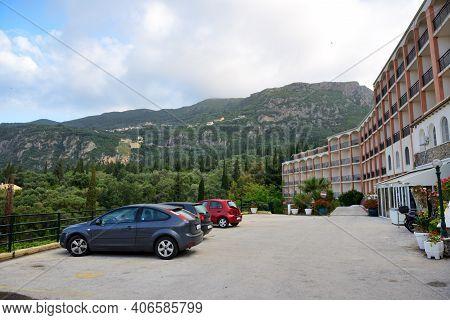 The Rent Cars Are Near Hotel In Paleokastritsa, Corfu Island, Greece