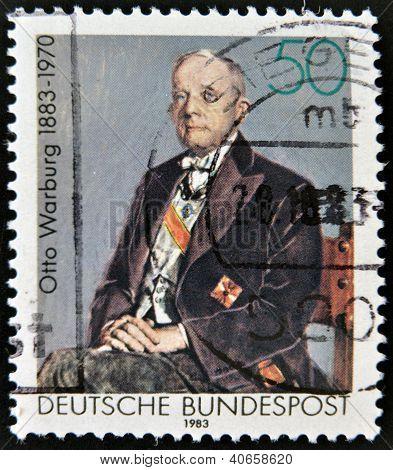 stamp printed in Germany shows Otto Heinrich Warburg