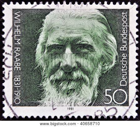 GERMANY- CIRCA 1981: stamp printed in Germany shows Wilhelm Raabe poet circa 1981.