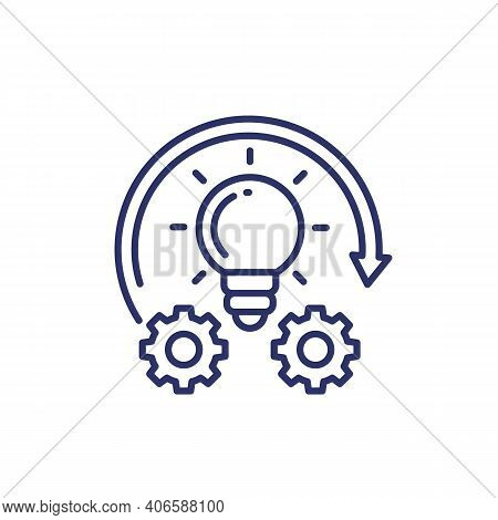 Implementation Or Idea Execution Line Icon, Vector