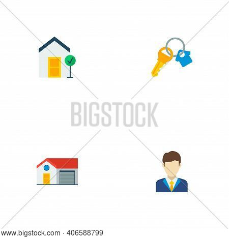 Set Of Realestate Icons Flat Style Symbols With Realtor, House, Key And Other Icons For Your Web Mob