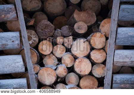 The Wood In The Drone. Exactly Folded Logs In The Drone.