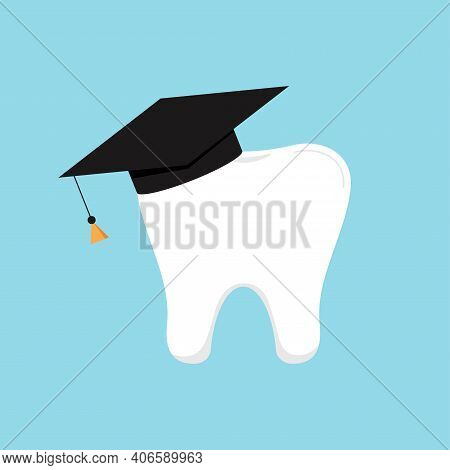 Tooth In Graduation Hat Dental School Icon Isolated. Vector Illustration Of Education Logo With Acad