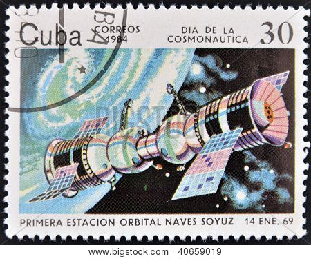 CUBA - CIRCA 1984: A stamp printed in Cuba shows first space station Soyuz spacecraft circa 1984