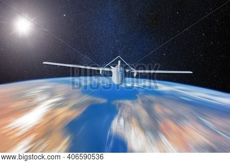 Space Shuttle Flying In Earth Orbit With Wings Designed For Flights In Space And The Atmosphere Of T