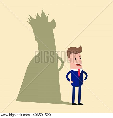 Business King. Businessman With Shadow As King. Man Leader, Success Boss, Human Ego. Vector Illustra