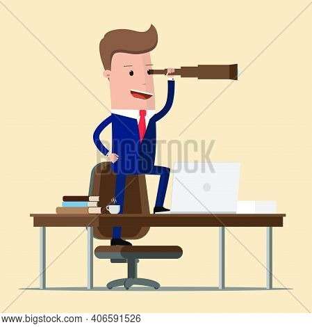Successful Businessman Looking Through Spyglass . Business Perspective. Vector Illustration
