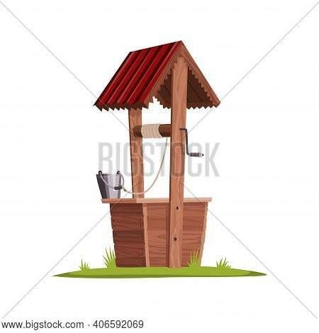 Old Water Well Made Of Wood. Village Well With A Rope, A Bucket And Wooden Elements. Colorful Vector