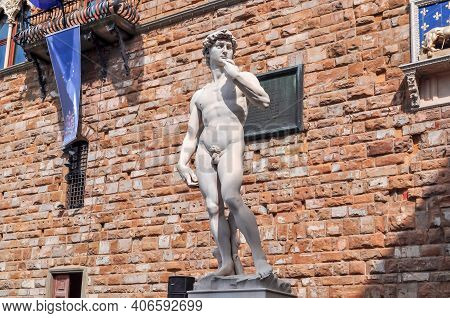 Statue Of David By Michelangelo At Palazzo Vecchio (old Palace) On Signoria Square In Florence, Ital