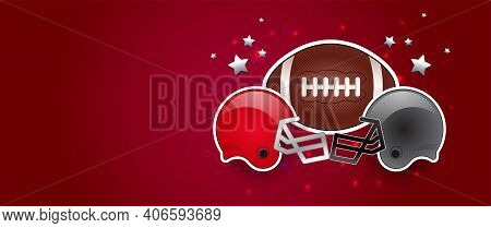 American Football Red Background Banner With American Football Ball, Two Opponent Teams Helmets In R