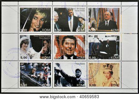 Diana Clinton Arafat Rabin Gorbachev Ronald Reagen Nixon Kennedy Fidel Castro and Elizabeth II