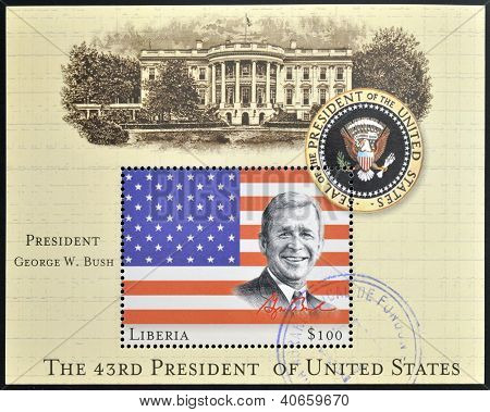 A stamp printed in Liberia shows portrait of President George Bush circa 2000