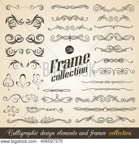 Calligraphic Design Elements. Elegant Collection Of Hand Drawn Swirls For Your Design. Page Decorati