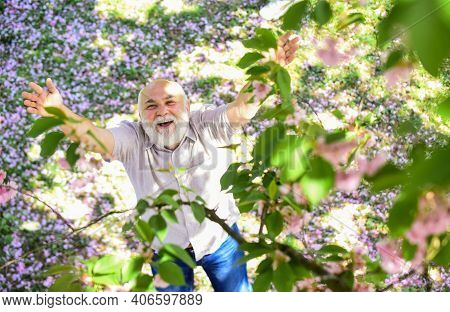 Wow. Happy Smiling Senior Man Looking Up. Old Man Imagining Beautiful Good Things To Realize Further