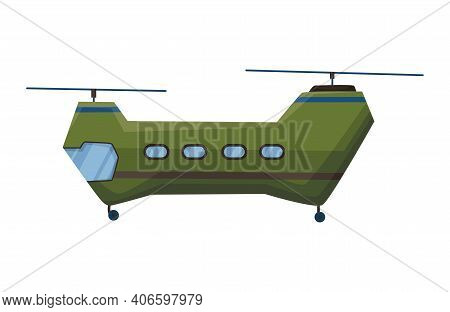 Helicopter Cartoon Aviation. Avia Transportation With Propeller Isolated On White. Vector Copter Air