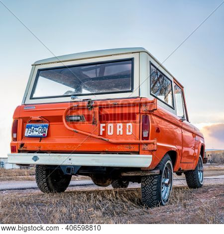 Fort Collins, CO, USA - January 7, 2019: Vintage, first generation,  Ford Bronco ranger wagon parked on a rural road. This legendary model was manufactured in 1972-1976.