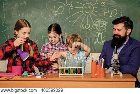 Club Include Variety Of Activities With Chemistry. School Club Education. Teacher And Pupils Test Tu