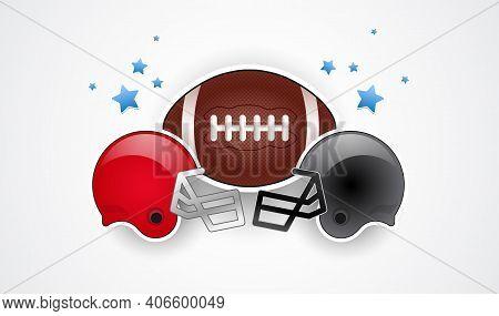 Football Helmets Red And Gray Team Colors, Football Ball And Stars - Usa National Championship Vecto