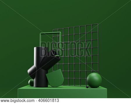 3d Render Stage With Abstract Geometric Shapes In Green And Black Colors. Modern Unreal Composition