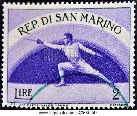 SAN MARINO - CIRCA 1954: A stamp printed in San Marino shows Fencing circa 1954