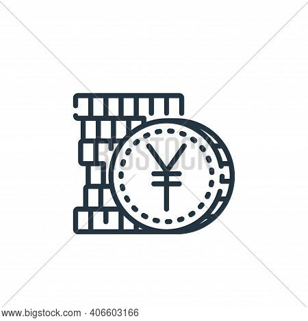 yen icon isolated on white background from banking and money collection. yen icon thin line outline