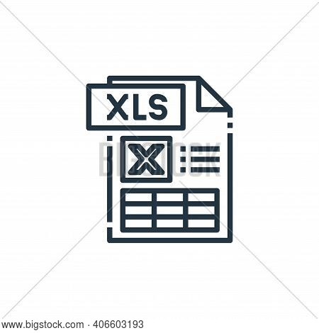 xls file icon isolated on white background from file type collection. xls file icon thin line outlin