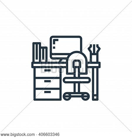 workplace icon isolated on white background from work from home collection. workplace icon thin line