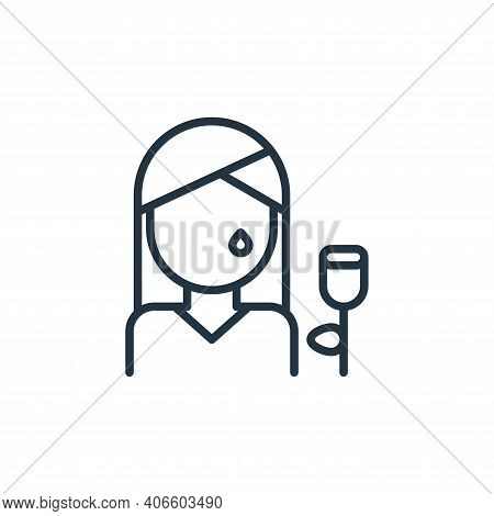woman icon isolated on white background from funeral collection. woman icon thin line outline linear