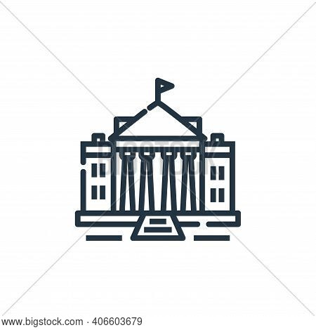 white house icon isolated on white background from world monument collection. white house icon thin