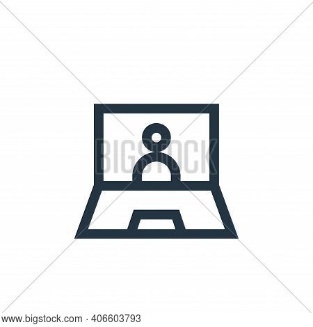 webinar icon isolated on white background from job resume collection. webinar icon thin line outline