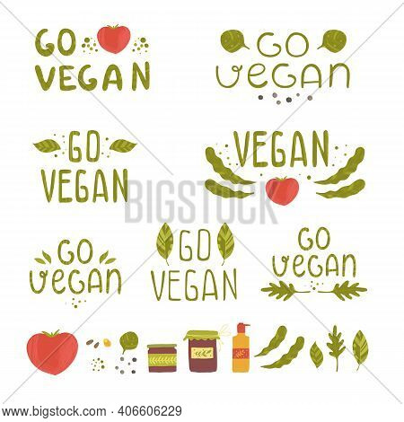 Vegan Product Labels. Suitable For Ads, Signboards, Packaging And Identity And Web Designs. Vegan. G