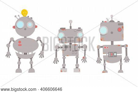 Retro Robot Character. Technology, Future. Cartoon Vector Illustration