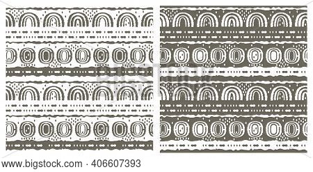 Set Of Two Same Seamless Patterns. Ovals, Semicircles, Rainbows, Lines, Dots, Circles And Other Shap