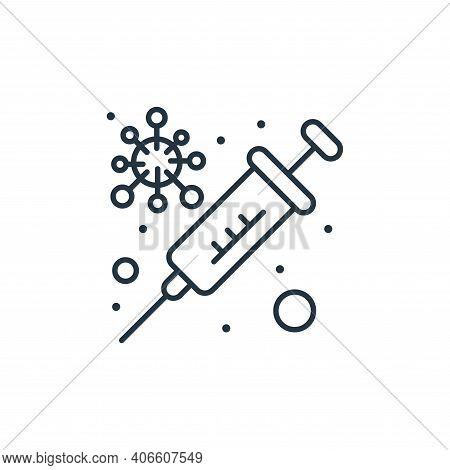 syringe icon isolated on white background from coronavirus collection. syringe icon thin line outlin