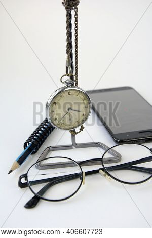 Pocket Vintage Watch On The Chain, Glasses, Pencil, Smartphone